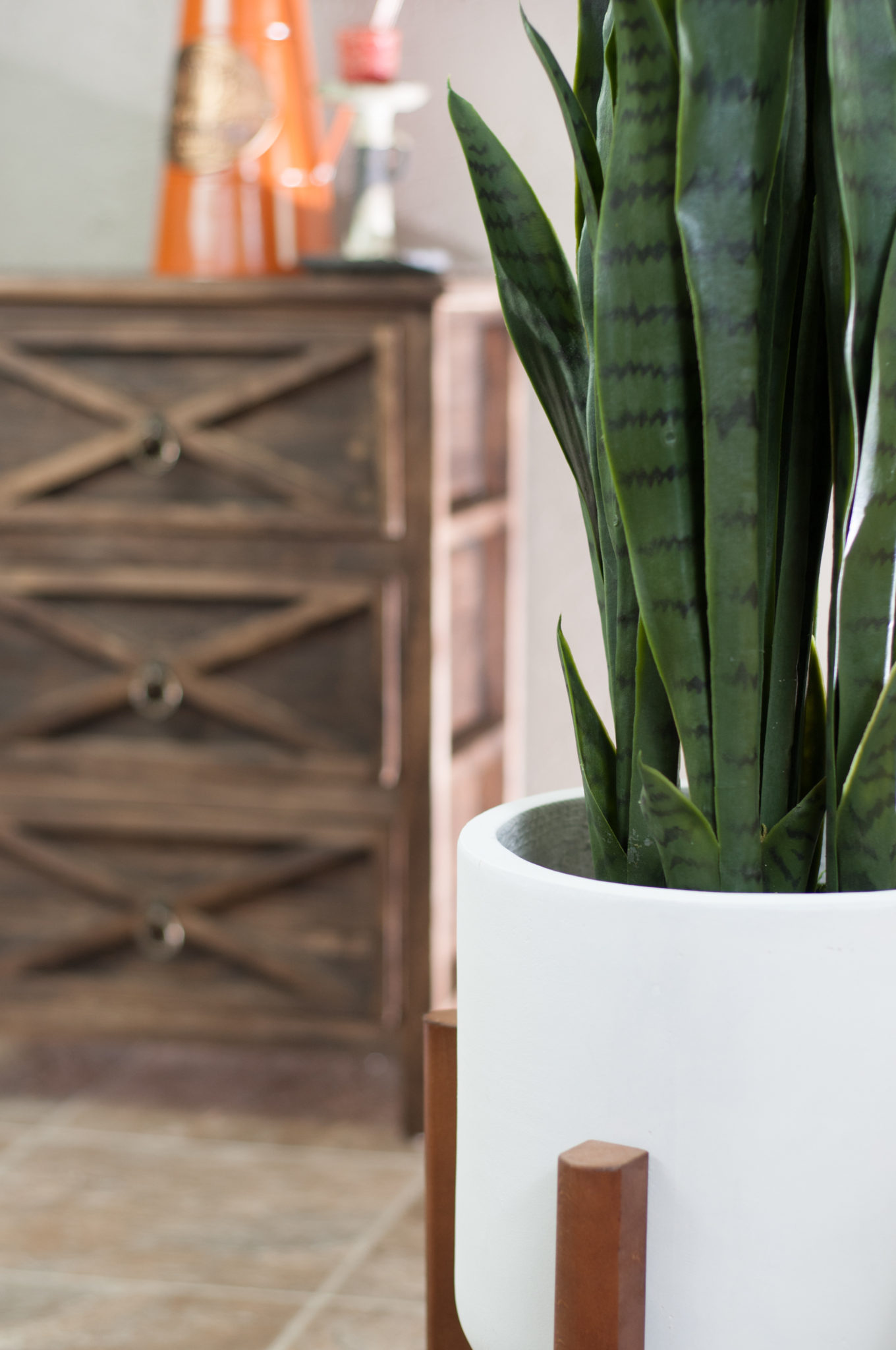 Large Ceramic Planter With Wood Stand White Fiber Clay Pot