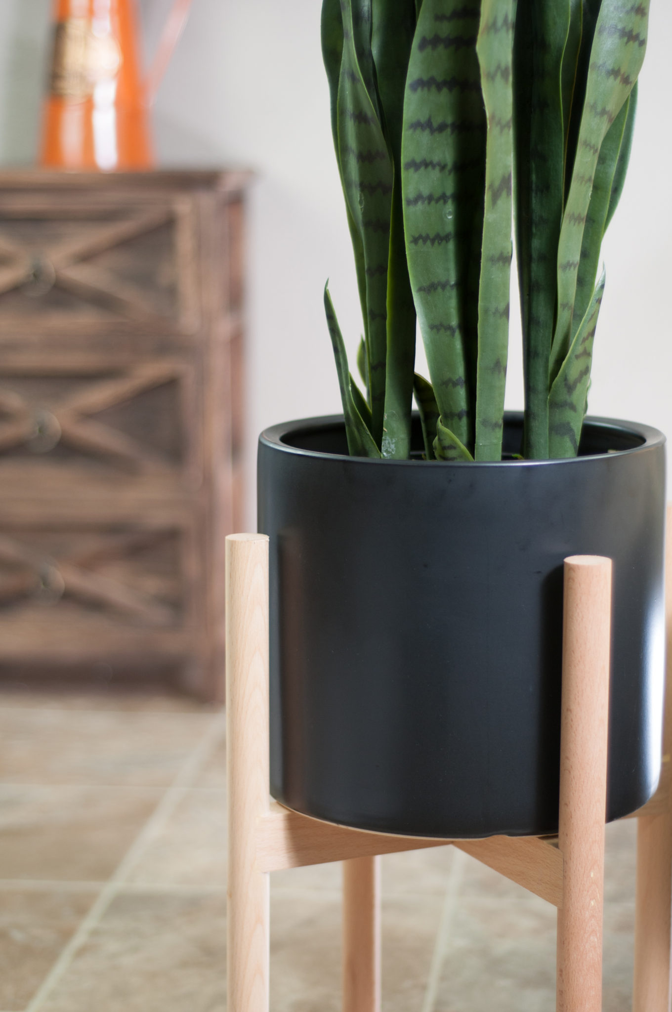 Upshining Ceramic Pots With Wood Stand Large Black Ceramic