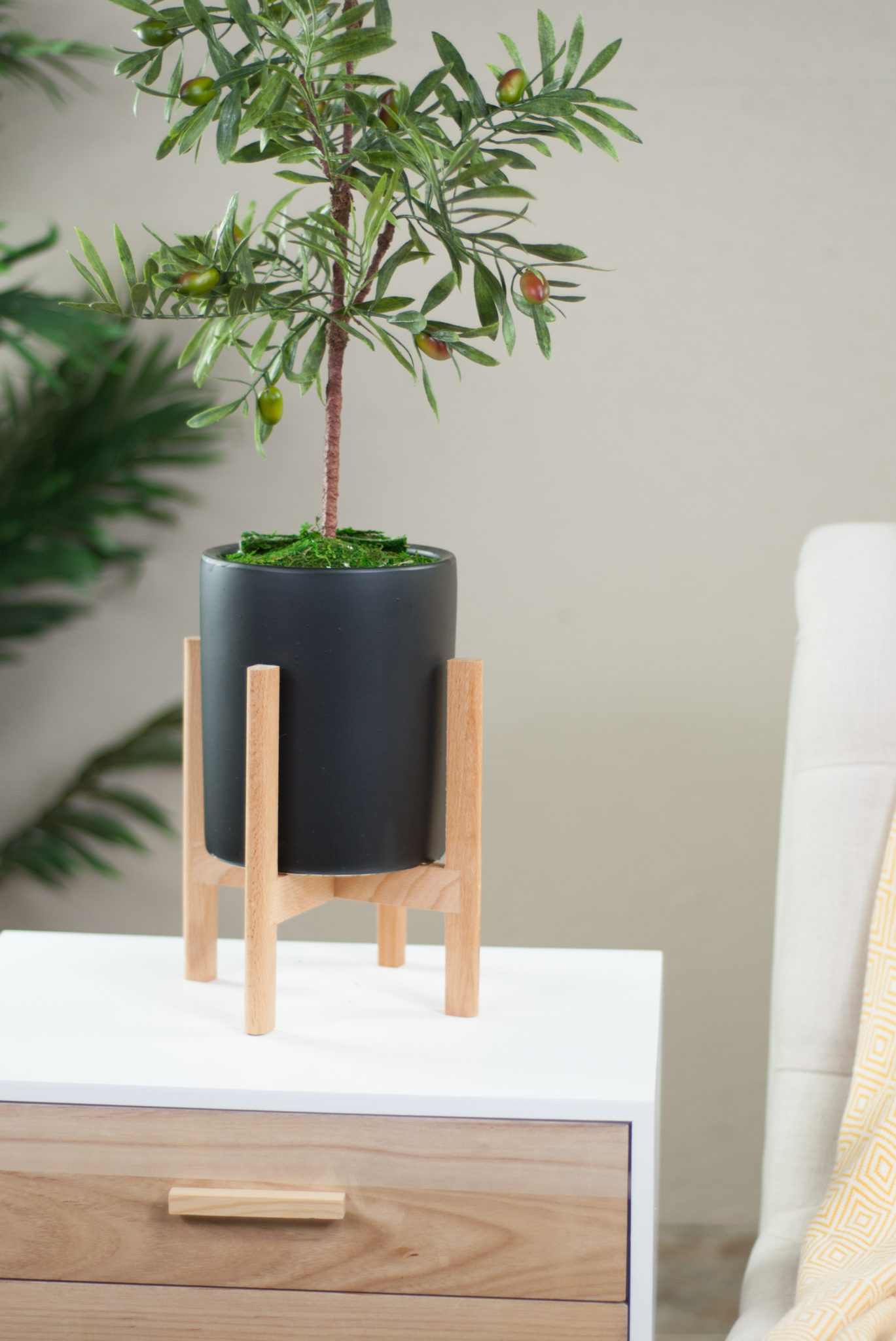 Upshining Ceramic Pots With Wood Stand Small Black Ceramic