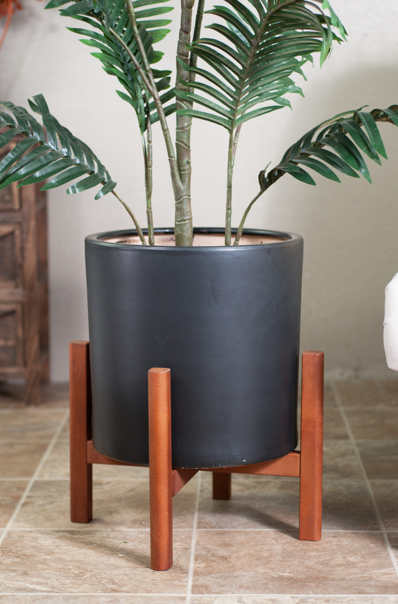 Upshining Ceramic Pots With Wood Stand Extra Large Black