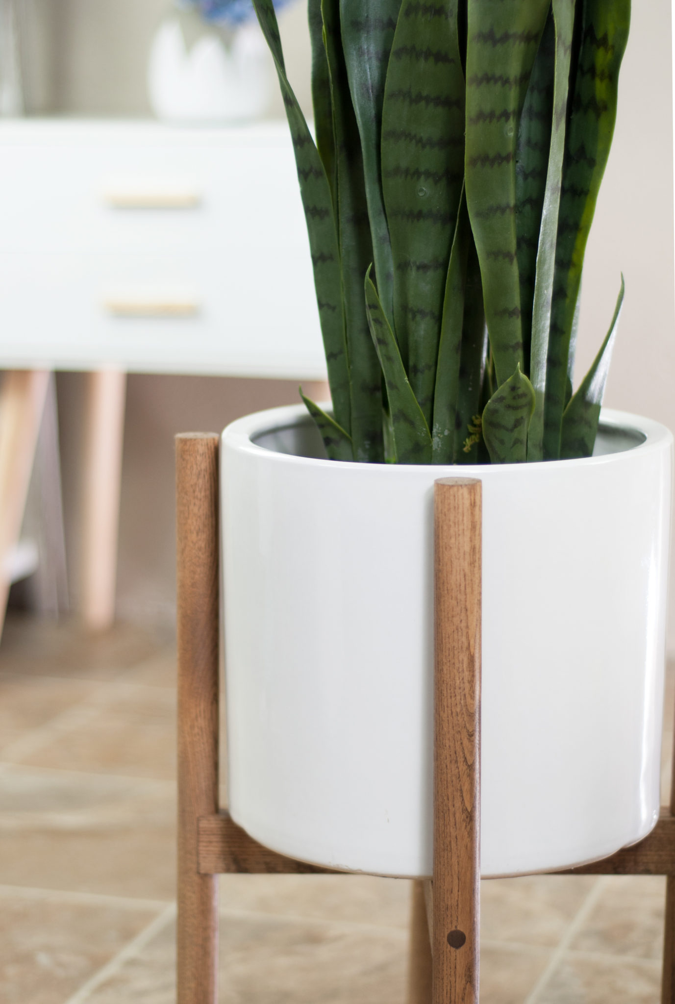 Ceramic Planter With Wood Stand Large Ceramic Pot Wood