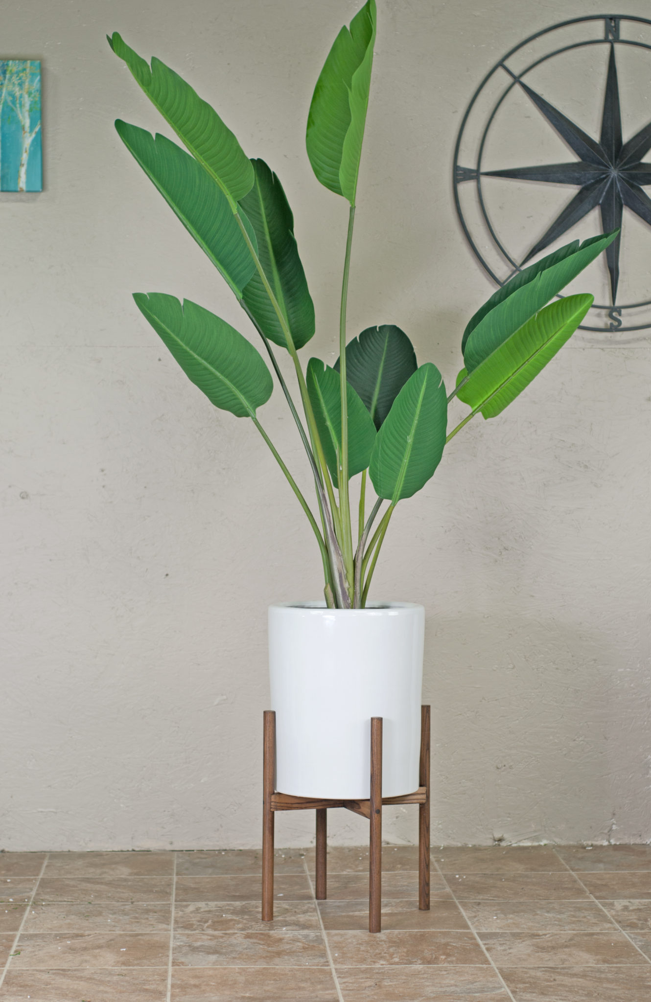 Ceramic Planter With Wood Stand Extra Large Ceramic Pot